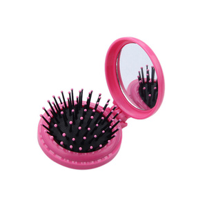 Image 4 - Portable Round Pocket Small Size Travel Massage Folding Comb Girl Hair Brush With Mirror Styling Tools 3 Colors