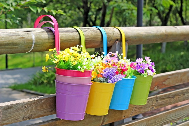 Buy home decor metal iron flower pot for Balcony hanging planter
