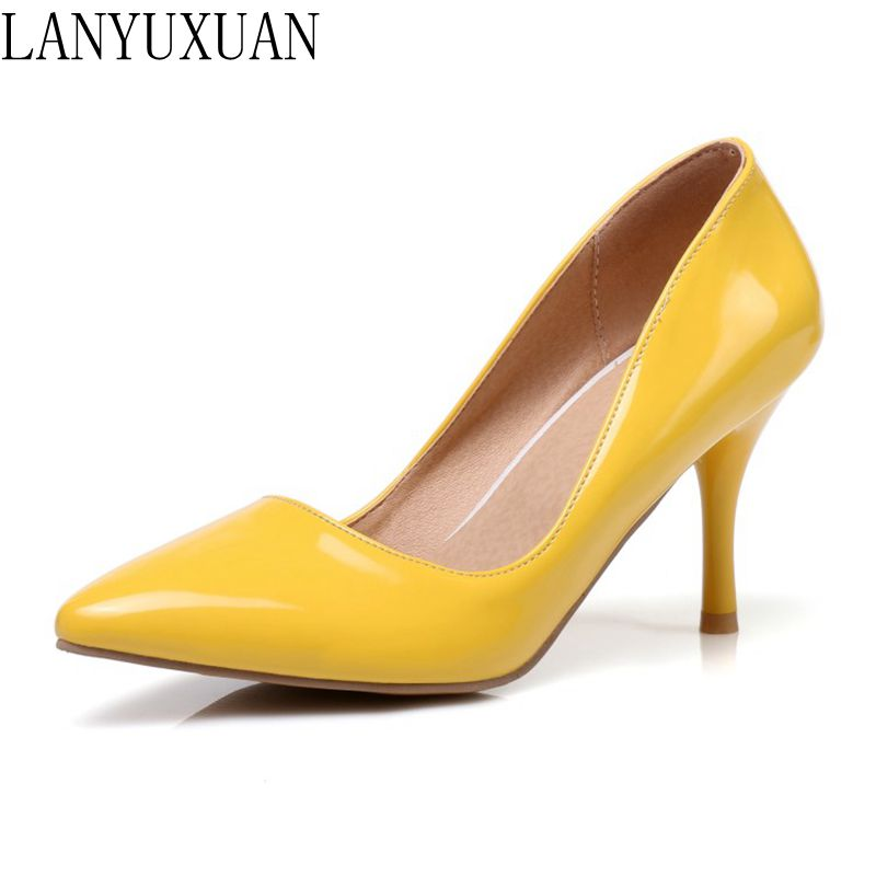 LANYUXUAN Sweet Fashion Plus Size 30-48 New Pointed Toe Women Pumps Platform High Heels Ladies Wedding Party Shoes Woman K3-1 plus size 34 43 new platform flat shoes woman spring summer sweet casual women flats bowtie ladies party wedding shoes