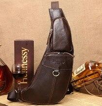 Männer Vintage Echtem Leder Travel Reiten Messenger Einzelner Schulter Cross Body Taschen Männlichen Sling Back Pack Brust Casual Tasche