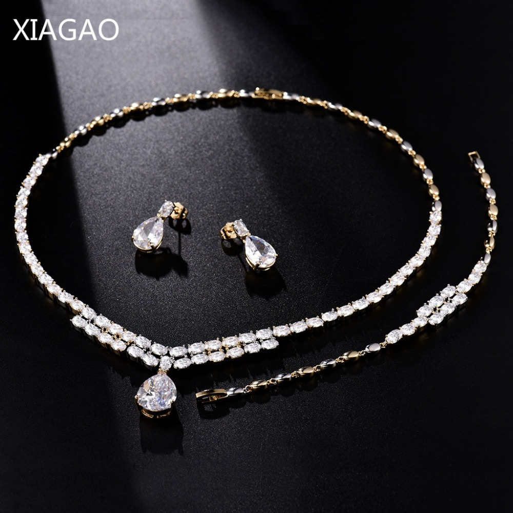 XIAGAO Gorgeous Water Drop Big Rhinestone Crystal Jewelry Set for Women Bridal Necklace Earrings Bracelet Wedding Gift