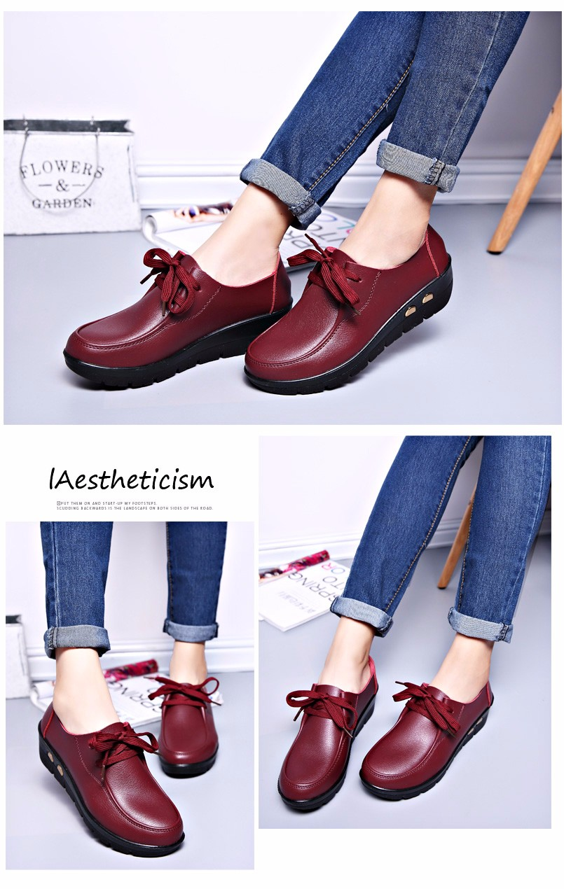 Women Oxfords Leather Shoes New Arrival Round Toe Lace Up Casual Women Flats Size 35-41 Flat Heels Platform Ladies Shoes NX27 (21)