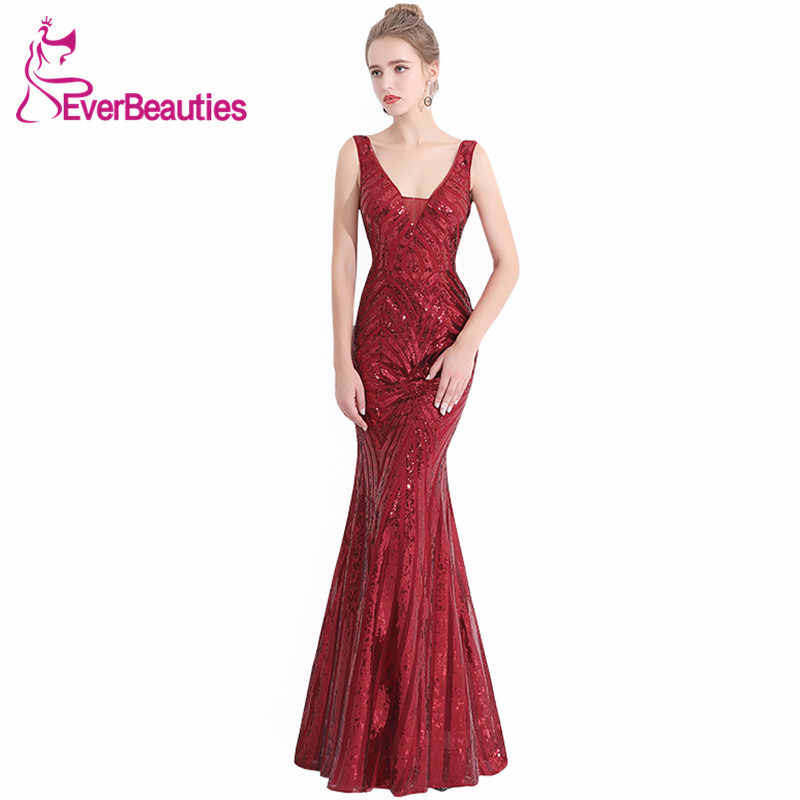 0b74d9a7044 Wine Red Evening Dress Long 2019 Sexy V-Neck Elegant Evening Gowns Mermaid  Sequin Robe