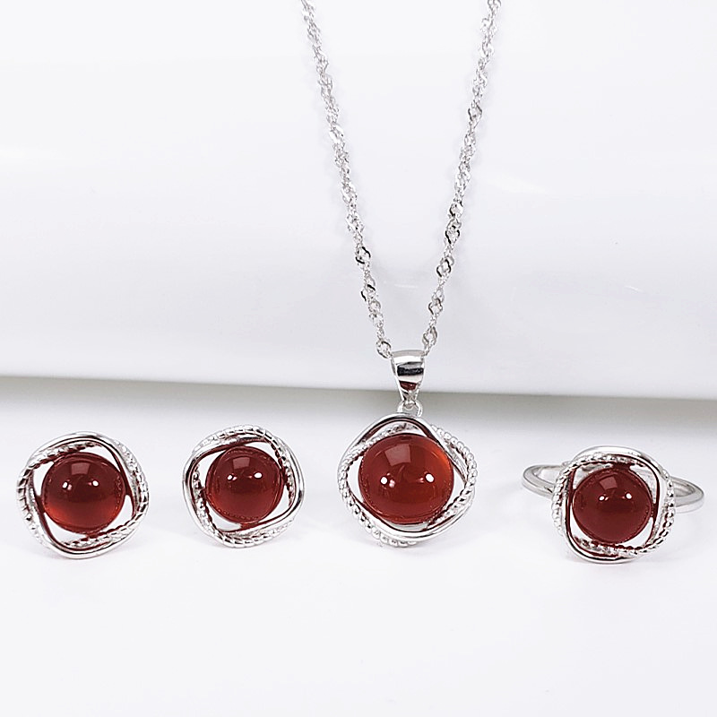 Real Pure 925 Sterling Silver Jewelry Sets Simple Flowers For Women With Natural Red Agate Gemstone Fine JewelryReal Pure 925 Sterling Silver Jewelry Sets Simple Flowers For Women With Natural Red Agate Gemstone Fine Jewelry