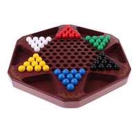 32.4 x 32.4cm Wooden Chinese Checkers Hexagon Checkers Puzzle Game Family Travel Game Set