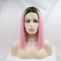Sylvia Ombre Pink To Black Two Tones Short Bob Wigs Synthetic Lace Front Wig Feat Resistant