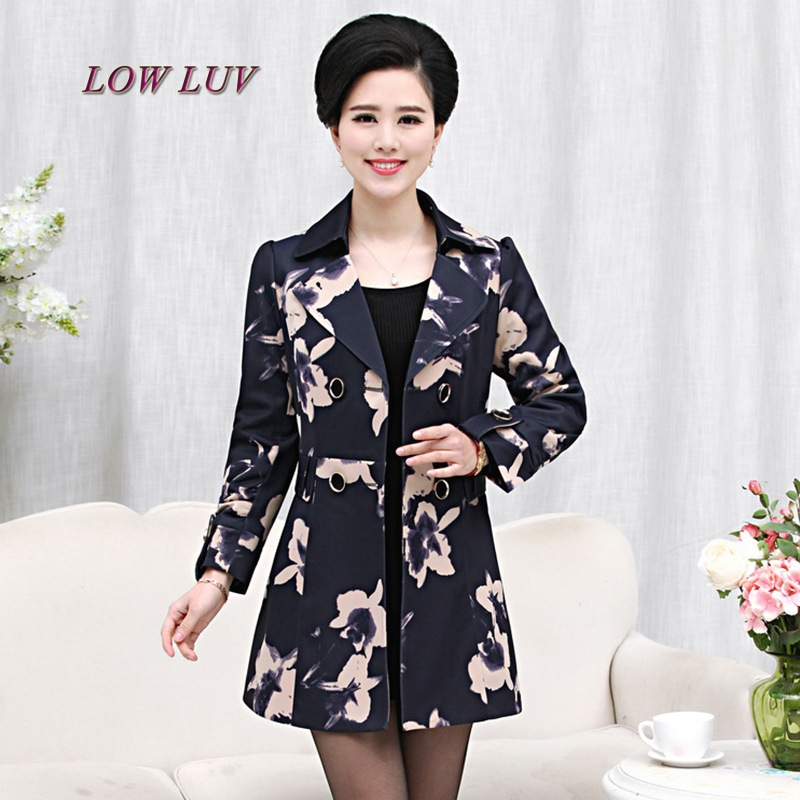 Clothes Women's autumn outerwear jacket Mother Loose Casual Women Flower Prints Plus Size Coat Windbreaker/casaco feminino
