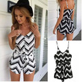 G&L Stylish wave striped shorts playsuit women 2016 new summer overall spaghetti strap v-neck black white beach jumpsuit rompers