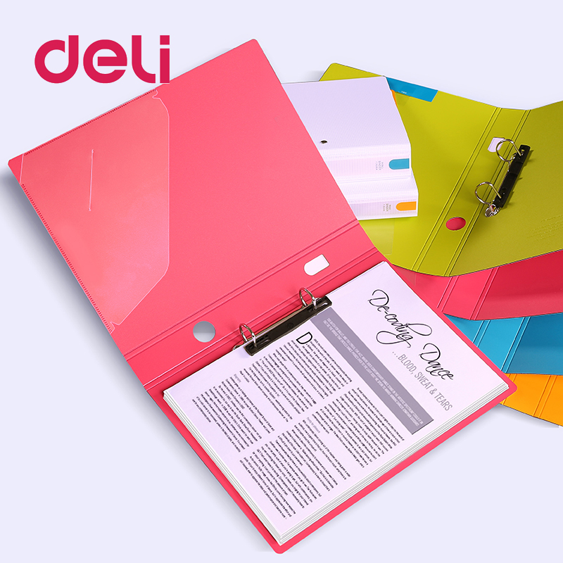 Deli Two-hole Expanding File Folder A4 Organizer Portable Metal Clip File Office Supplies Document Holder Carpeta Archivador