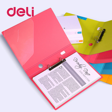 Deli two-hole Expanding File Folder A4 Organizer Portable metal clip Office Supplies Document Holder Carpeta Archivador