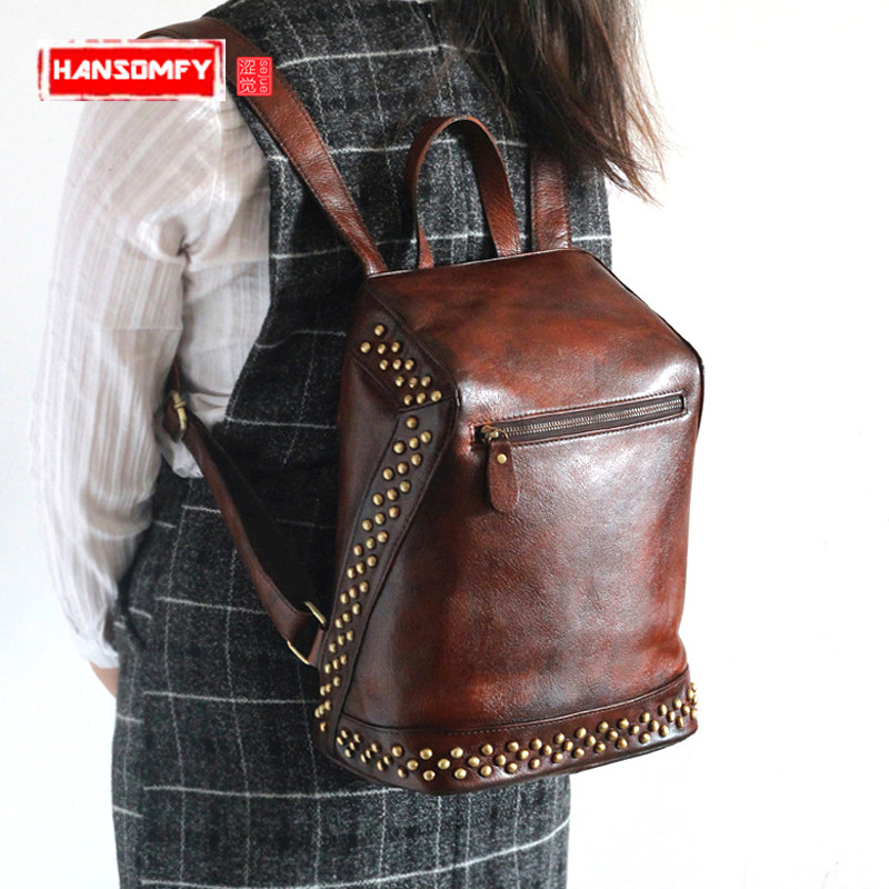 New invisible zipper Women Backpacks anti-theft shoulder Bag tanned genuine leather rivets retro female large capacity backpackNew invisible zipper Women Backpacks anti-theft shoulder Bag tanned genuine leather rivets retro female large capacity backpack