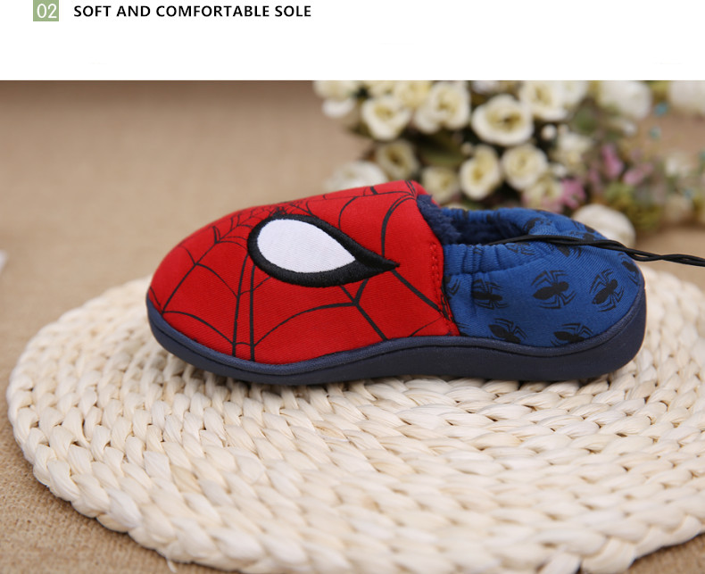 Disney slippers winter todder spiderman home slippers baby boy warm plush shoes cartoon animation floor pantuflas terlik (11)