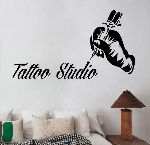 Tattoo Studio Logo Vinyl Sticker Machine Wall Decal Window Art Decorations Salon Room Decor