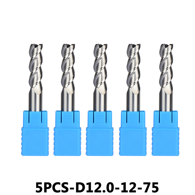 5pcs/lotD12-12-75 Tungsten Steel End Mills 3-Flute Flattened Head Milling Cutters Carbide End mills HRC45 Suitable for Aluminum
