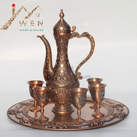 Free shipping 12 plate, copper bronze plated metal wine set/tea set, fashion zinc alloy wine set, 1 set=1 plate+1 pot+6 cups