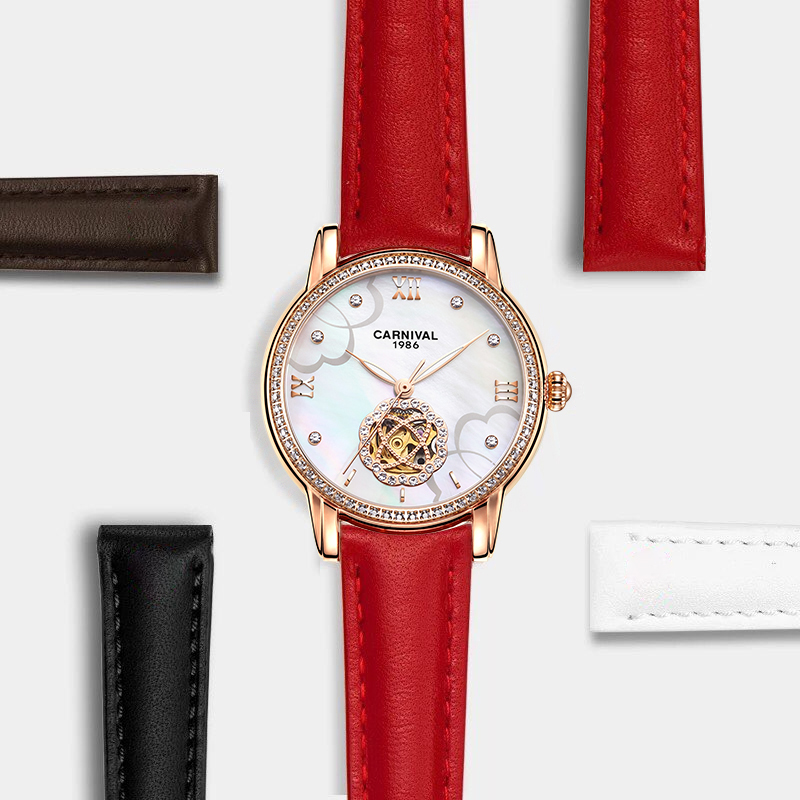 CARNIVAL Gold Shell Dial Mechanical Watches Diamond Inlaid Red Leather Women Watch TopBrand Luxury Waterproof Relogio Femenino blue indian luxury headpieces king queen unisex cosplay costumes diamond feather headdress for women and men peagents carnival