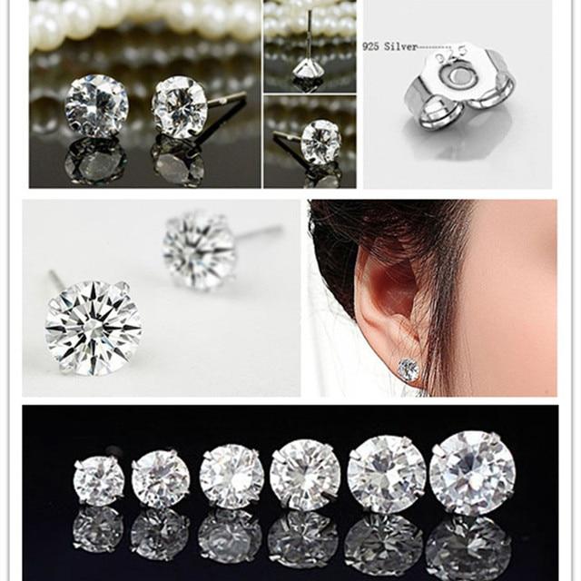 20000b568 8mm 925 Sterling Silver Clear Round Cubic Zirconia Stud Earrings Men/Women
