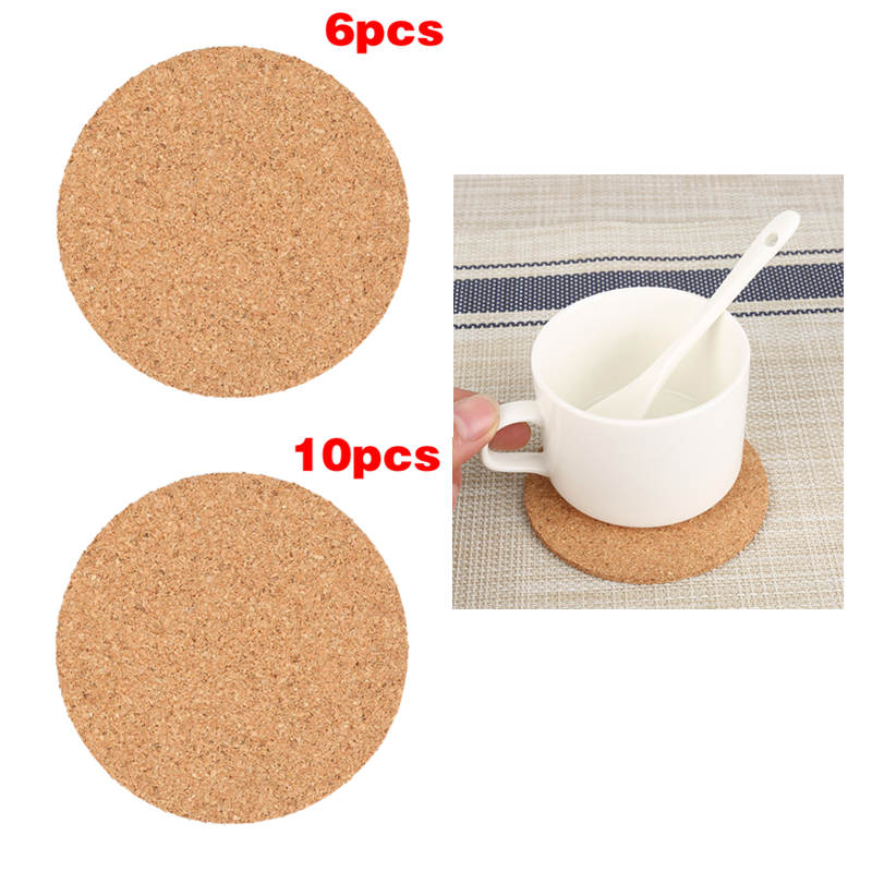 10/6/1Pcs 9cm Natural Cork Coffee Cup Mat Round Plain Coasters Drink Wine Mats Household Office Non-Slip Tableware Accessories