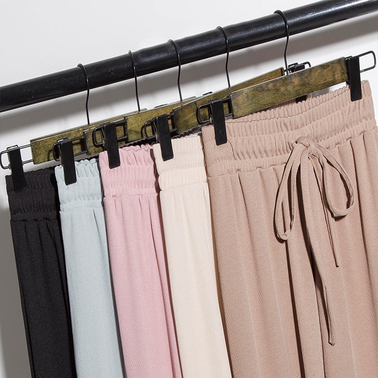 Spring and summer ice silk knit high waist   wide     leg     pants   female nine points loose straight   pants   casual   pants   large size