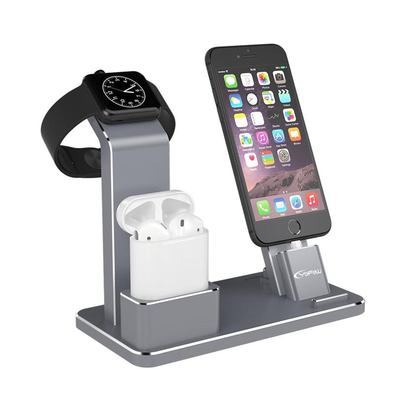 imágenes para YFW Titular para Apple Reloj 4 en 1 Accesorios Base de Carga Del Soporte Del Teléfono para iWatch AirPods Serie 2/1/iPhone 7/7 Plus/6 s Plus/5S