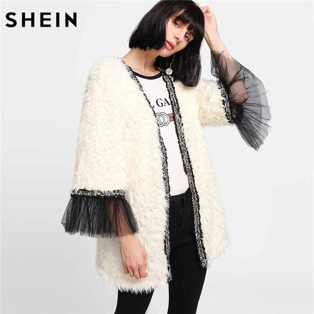 e9f5929457 SHEIN Winter Coat Beige Women Faux Fur Coat Color Block Long Sleeve Party  Womens Coats Contrast