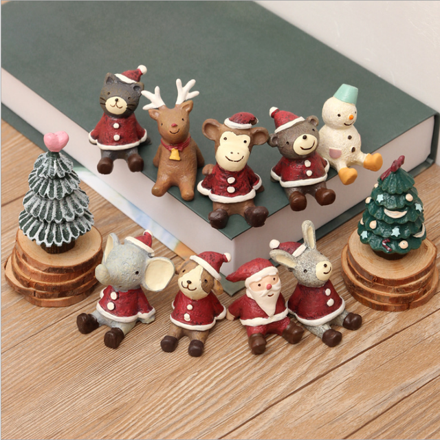 10pcsset christmas miniatures figurines look up to the sky cute resin animals christmas decorations - Christmas Miniatures