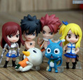 Fairy Tail Figura de Ação Fairy Tail Natsu Feliz Lucy Cinza Elza PVC Modelo Toy 6 pçs/set Fairy Tail Figuras de Brinquedo