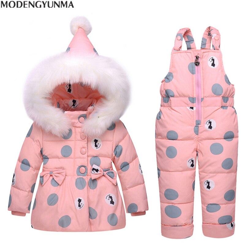 MODENGYUNMA enfants ensembles bébé hiver doudoune ensemble pantalon-veste extérieur Parka Hoodies survêtement costumes unisexe à pois vêtements