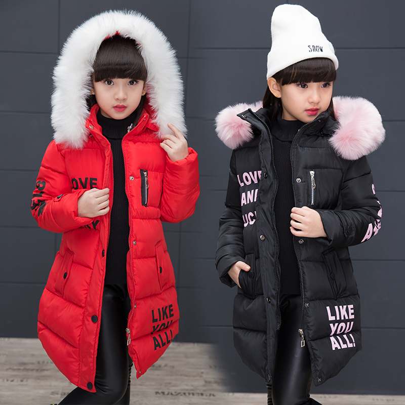2017 Brand Child Winter Warm Print Letter Jacket Kid Winter Hooded Girls School Christmas Cute Outwear Kid Winter Fur Coat new winter baby hat real fur pom pom knitted toddler kid thick warm double raccoon fur balls beanies boys girls bonnet gorros f3