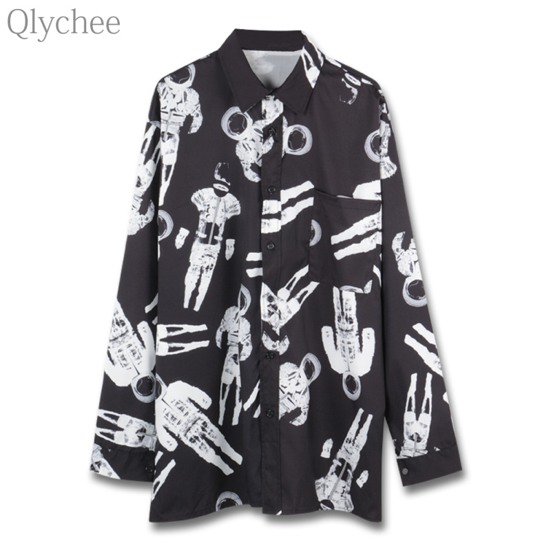 Disciplined Qlychee Harajuku Robot Print Shirt Button Down Turn Down Collar Pocket Blouse Women Men Summer Loose Shirt Unisex Streetwear Good Heat Preservation Blouses & Shirts