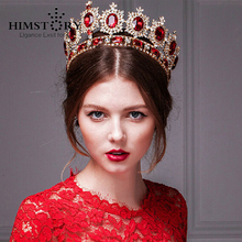 2015 Trendy Gold Plated  Oversize Luxurious Vintage Red Crystal Quinceanera Brial Crown Tiara For Wedding