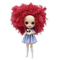 ICY DBS lalki Blyth czerwony dziki Curl-Up włosy Afro wspólne Body biała skóra błyszcząca twarz DIY bjd zabawki prezent No.230QE155