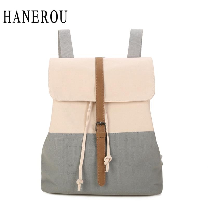 HANEROU Canvas Backpack New Drawstring Bag Sack Bagpack Female Women Backpack Girls Backpacks For Teenage Girl Sac A Dos Mochila