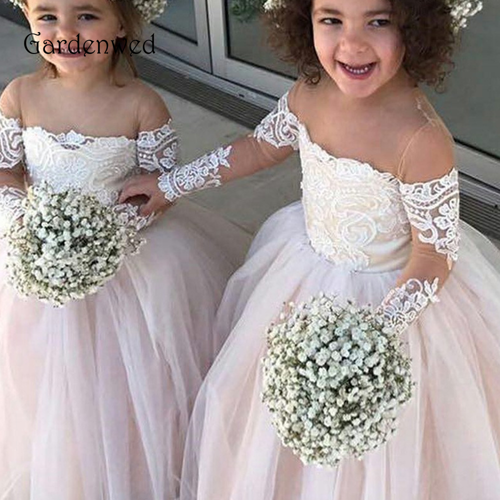 Pink Tone Long Sleeves Appliqeus Lace Ball Gown Red Pageant   Dress   for   Girls   Tulle Puffy   Flower     Girl     Dresses   2019 Sheer Shoulder