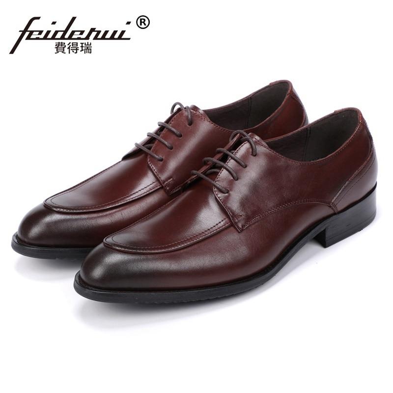 New Vintage Designer Man Handmade Derby Wedding Shoes Genuine Leather Round Toe Men's Formal Dress Party Basic Footwear JS189 цена