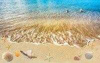 3D Perde Tasarımı Güzel Fotoğraf Karartma Gölge Pencere Perdeleri Deniz Kabukları Plaj 3D Perde Karartma Özel Perdeler