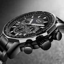 ליגע אופנה מותג גברים שעון הכרונוגרף מלא פלדה עסקי קוורץ שעון צבאי ספורט עמיד למים שעון איש Relogio Masculino