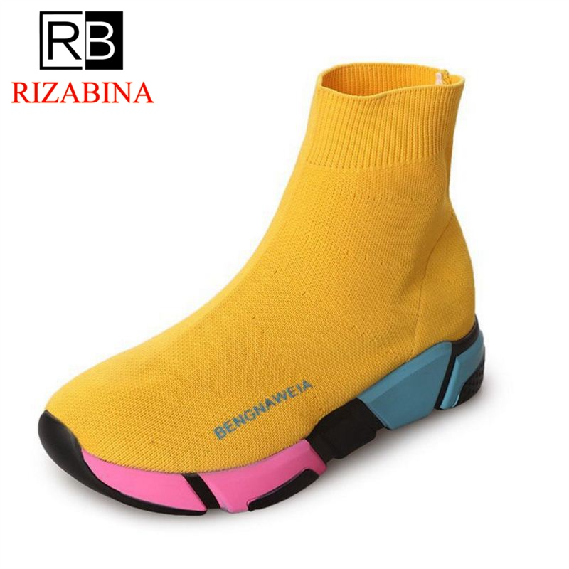 RizaBina Women Flats Boots Fashion Round Toe New Design Female Mixed Color Ankle Boots WomenS Footwear Size 35-39