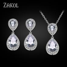 ZAKOL Fashion Teardrop Rhinestone Jewelry Set Romantic Sliver Color Hot Sale Jewelry For Bridesmaid Jewelry Wedding FSSP263