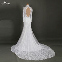 RSW866 Keyhole Sexy High Neck Long Sleeve Lace Backless Wedding Dress Open Back