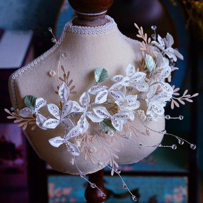 Coréennes fraîches mariées blanc fleur Barrette mariées laisser bandeaux mariage cheveux accessoire soirée coiffure