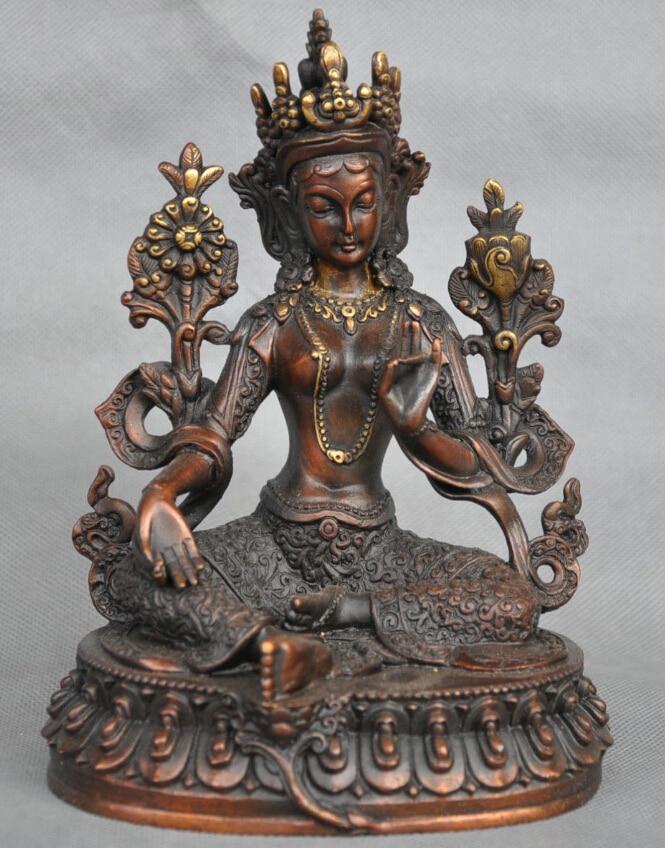 7'' China Tibet Green Tara Buddha Goddess Bronze Statue