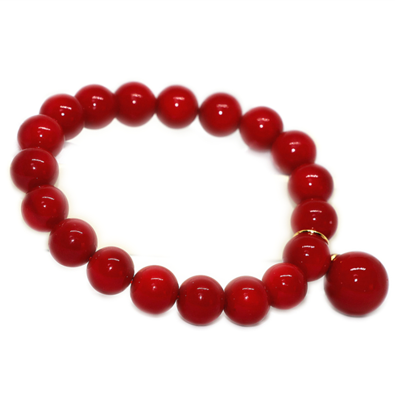 Charms Red Artificial Coral Round Beads 10mm Strand Bracelets For Women High Grade Beaded Bangle Gifts Diy Jewelry 7.5inch B1707