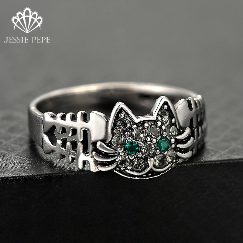 Jessie Pepe #5.5-9 Size Vintage Retro Cute Catty Ring Anels For Women Antique Plated Party Ring#J-4955