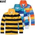 5y-16y adolescentes camisa de polo niños primavera otoño rayó turn-down de algodón de Manga Larga T-shirt Tops 6 8 10 12 14 16