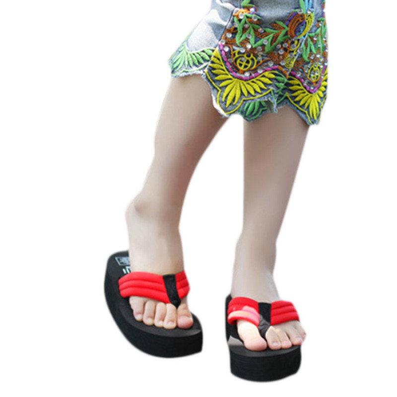 Outdoor Women Slippers Platform Wedges Flip Flops Wedge Heel Summer Sandals High Quality Women Shoes Fashion Beach Sandal new summer style fashion women slippers flip flops wedges platform sandals hot selling high heel bowtie sweet sexy ladies shoes