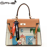2017 Fashion Famous Brands Women Handbag Cartoon Graffiti Bag Louis Handbags Letter Star Decoration Handle Tote