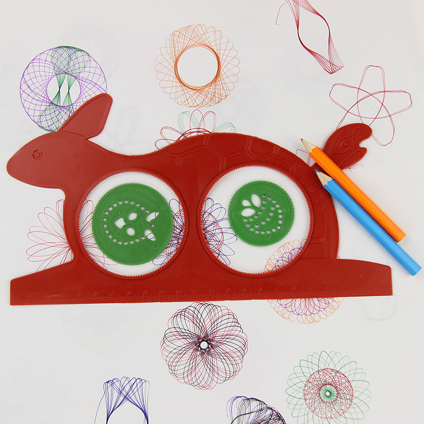 Drafting Supplies 1 Set Newest Spirograph Magic Turtle Rabbit Sketchpad Kids Gift Educational Drawing Board Ruler Students Stationery Supplies