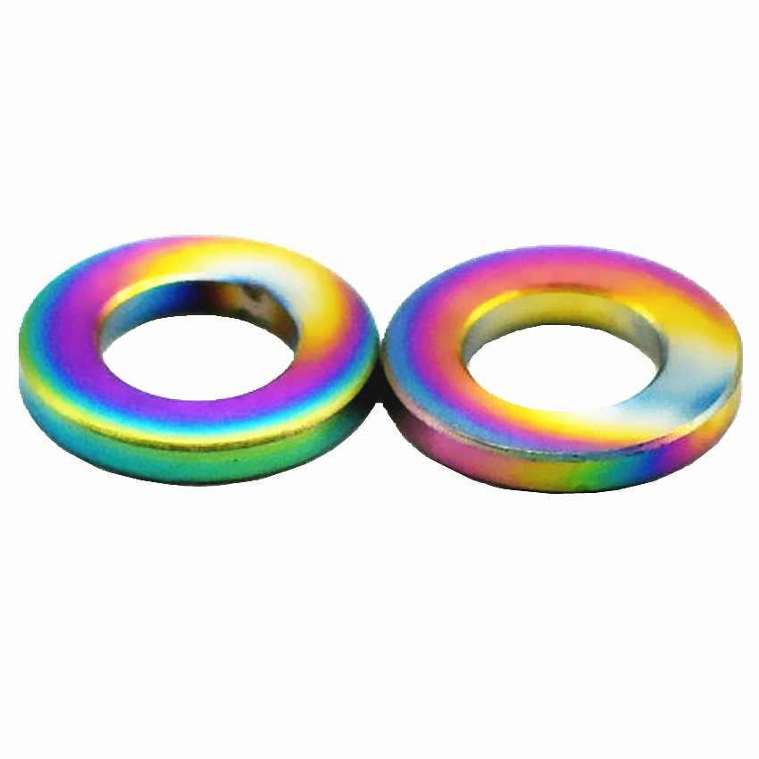 купить Titanium Washer for Motorcycle Bike DIY M5 M6 M8 M10 O Ring Titanium Flat Gasket Ti Washers Gold/Multicolor Ti Fastener 12/24pcs онлайн