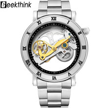 цена на Top brand Skeleton Tourbillon automatic Mechanical Watch Men's luxury business men Wristwatch self wind Relojes Steampunk